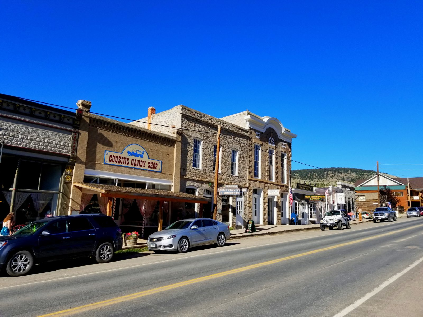 The main drag in Virginia City, a Southwest Montana ghost town, try the Huckleberry ice cream!