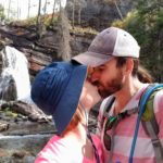 The Practical Vagabonds in front of Baring Falls