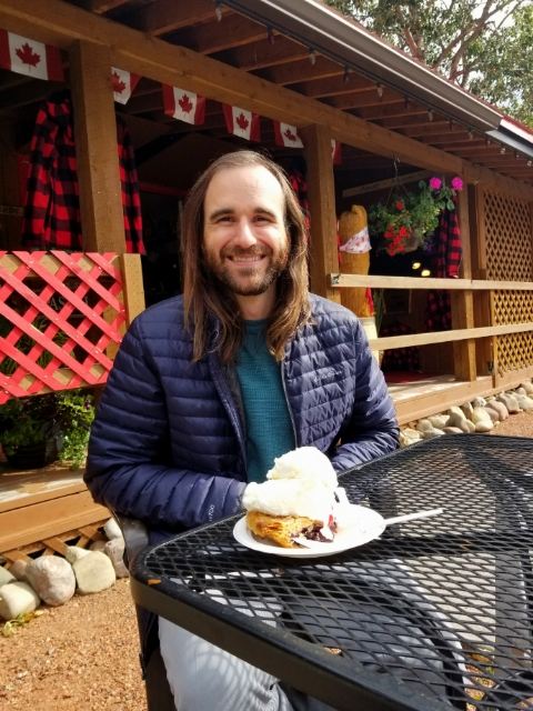 Enjoying a tasty slice of saskatoon pie in Waterton Lakes National Park.