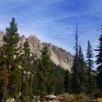 Cliffs of granite hiking to Sawtooth Lake in Idaho