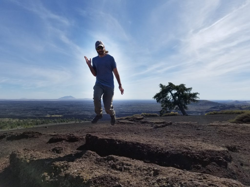Practicing out astronaut moves at Craters of the Moon National Monument