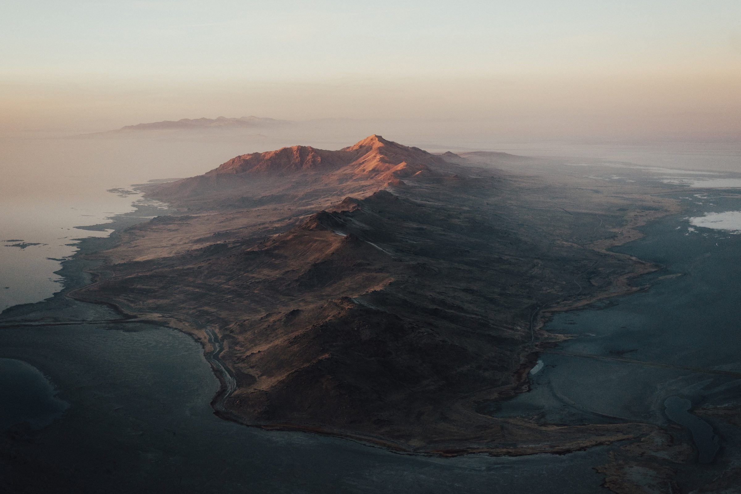 Aerial view of Antelope Island State Park photo by Tory Morrison