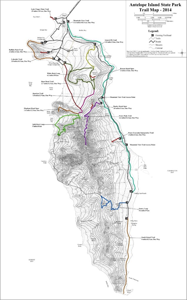 Hiking map of Antelope Island State Park
