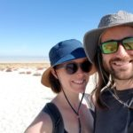 The Practical Vagabonds walking to the beach - Antelope Island
