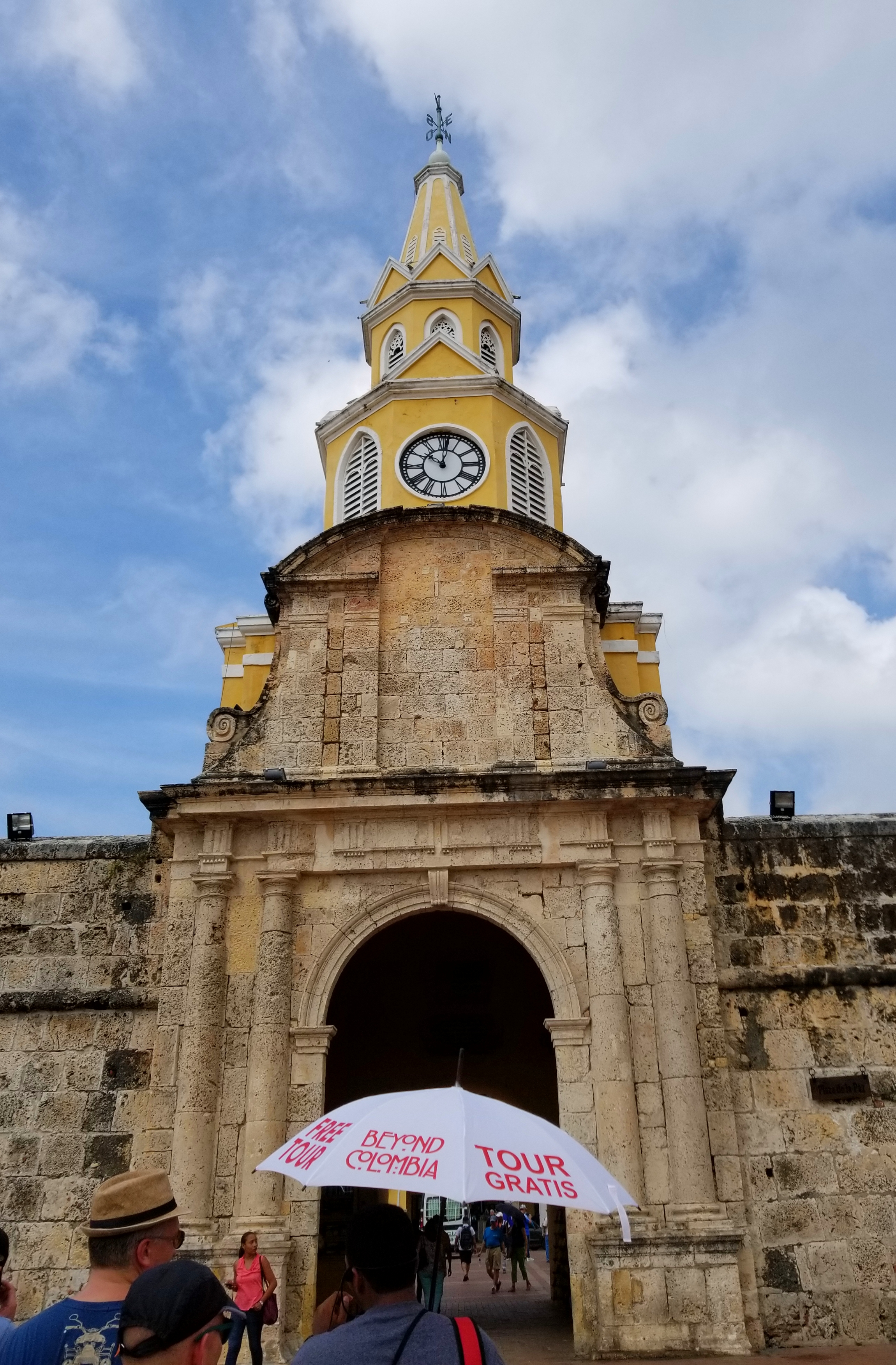 Entering the walled city with Beyond Colombia's free walking tour.
