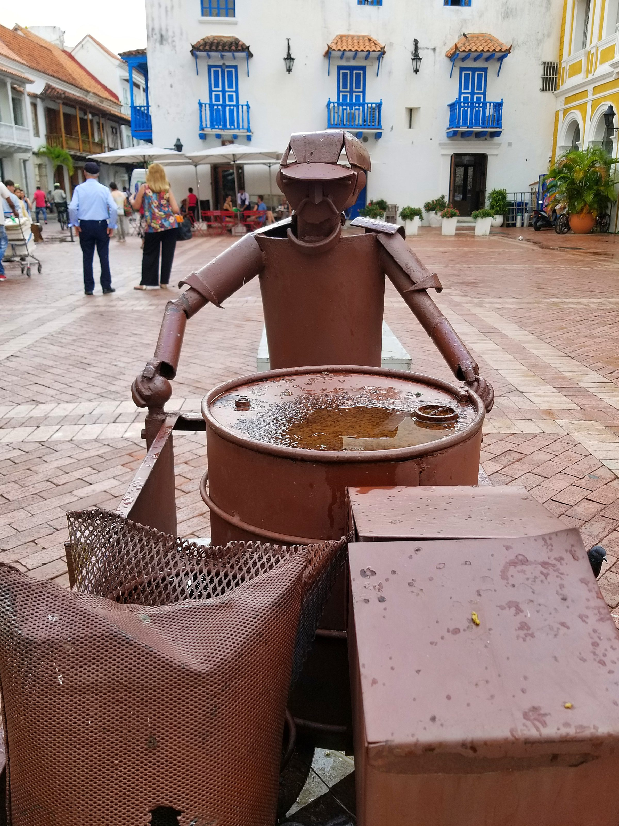 Sculpture of daily life in Cartagena Colombia