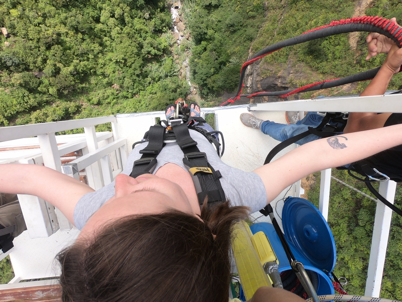 Extreme bungee jumping in San Gil, ready to for the jump