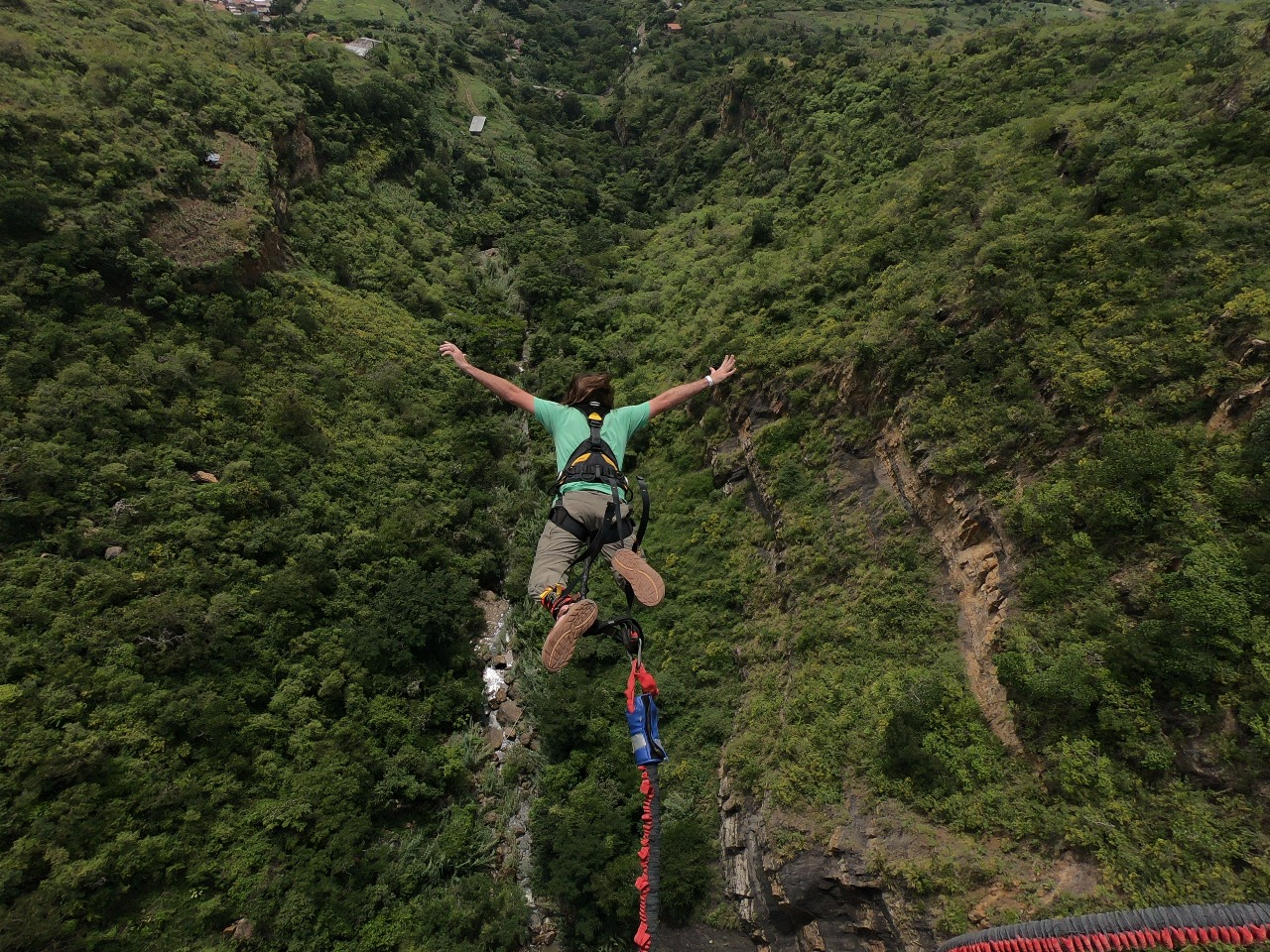 Jimmy bungee jumping in San Gil, Colombia!
