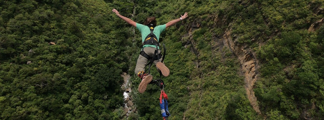 Taking the 140 meter (496 feet) bungee jump is exhilarating and terrifying!