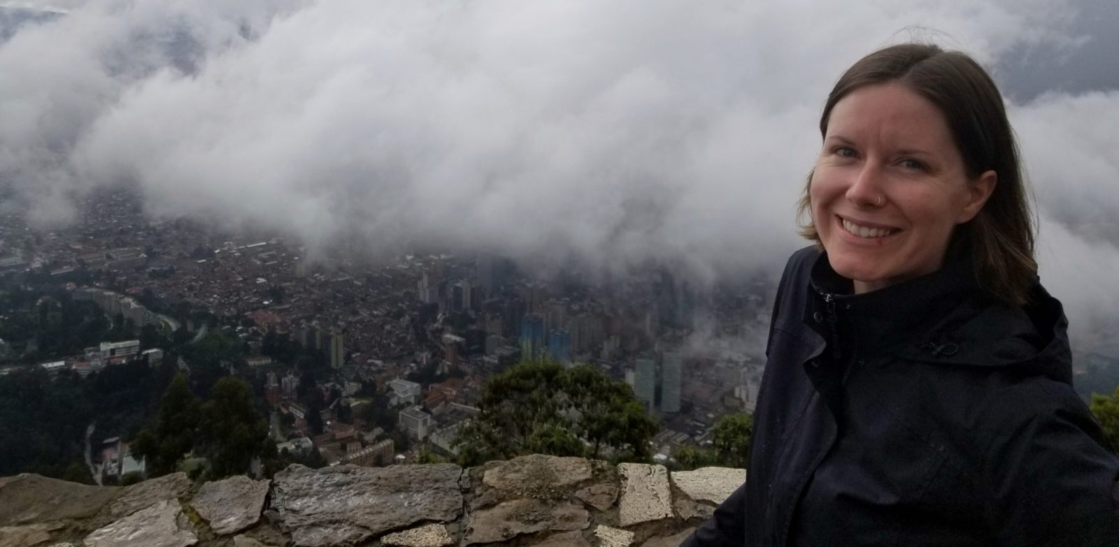 Sarah overlooking Bogota from a Monserrate viewpoint