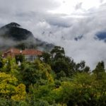 Monserrate views in the clouds over Bogota