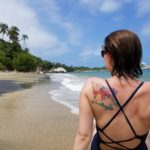Sarah catching some sunshine in Tayrona at La Piscina