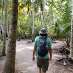 Hiking through palm trees at Tayrona National Park
