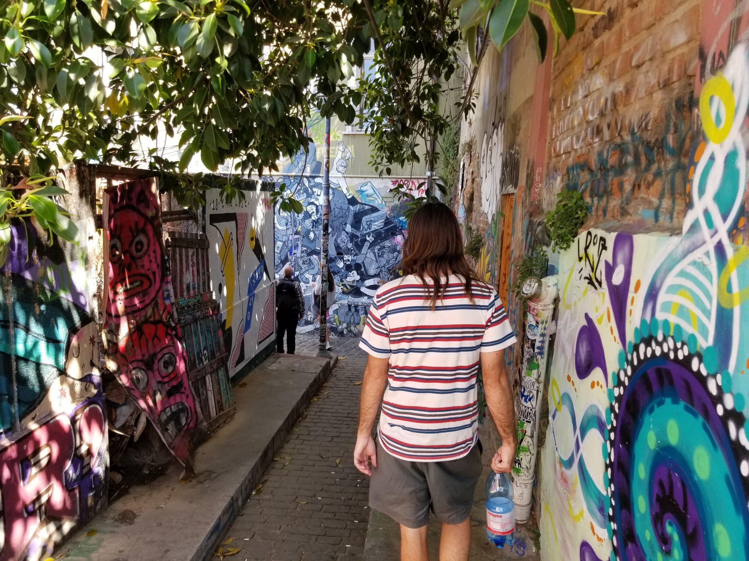 Graffiti walk in Valparaiso
